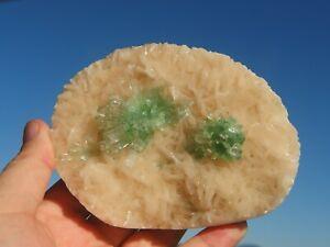 Green Apophyllite on Stilbite, Rahuri, India. 12 x 9.5 cm.