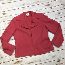 Talbots Women's 10 Pink 100% Wool Open Front Blazer Suit Jacket Knit