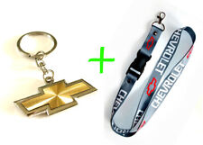 2 in 1 Combo CHEVROLET CHEVY Gray Lanyard and Gold Silver Key Chain