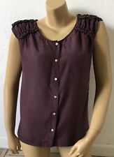 67fa3ef4b4dbe J CREW Womens Size 4 Sleeveless 100% Silk Button Front Blouse Tank Top Shirt