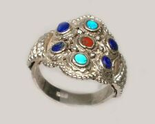 Antique 19thC Macedonian Victoria Intricate Sterling Lapis Gemstone Ring Size 11