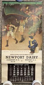 Vtg 1948 Norman Rockwell Boy Scouts Calendar Men Of Tomorrow 16X33 Advertising