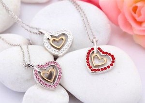 Double Heart Chain Necklace Pendant Made With Swarovski Crystal Rhinestones