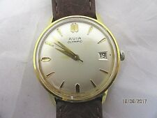 Avia Olympic Gold Plated Manual Wind Date Wrist Watch in Working Order C1960/70s