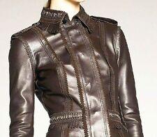 """$3,995 Burberry Prorsum 8 (35"""") Fringe Trim Leather Jacket Coat Motorcycle Women"""