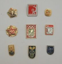 Russian Vintage Tennis Pin Badge Collection - 9 Lapel Pins - with 1980 Olympics