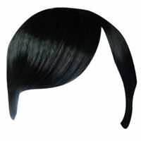 Fringe Bang Clip in on Hair Extensions STRAIGHT Black #1b Front