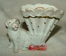 German or Austrian mid 1800s Tiny Bisque St Bernard Fan Spill Vase Fairing