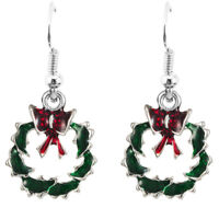 Beautiful Winter Green & Red Wreath Drop Christmas Earrings for Xmas Gift E1326