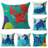 Ocean Style Pillow Case Blue Sea Animals Linen Throw Cushion Cover Home Decor