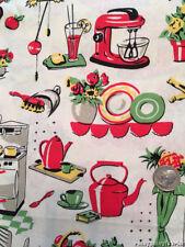 Retro Vintage Fifties Kitchen Tea Pots Flowers Michael Miller Cotton Fabric BTY