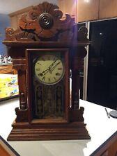 Antique ~ Waterbury style Oak Gingerbread Kitchen/Mantel ~ Clock