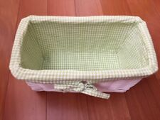 Pbk Pottery Barn Kids White Small Sabrina Basket with Liner Green Gingham Euc