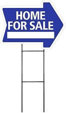 Home For Sale - BLUE - Arrow Shaped Sign Kit with Stand (K-S206)