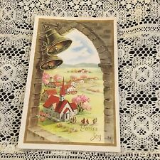 Vintage Greeting Card Easter Joy Bells Church