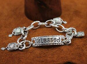 """SARDA Bali Hammered """"Blessed"""" Inspirational Charm Bracelet Sterling Silver 8"""""""