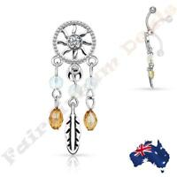 316L Surgical Steel Clear Gem Dream Catcher Top Down Belly Ring Dangle