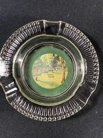 Vintage Glass Round Ashtray Waco Texas Souvenir Color Bottom Felt  Advertising