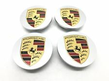 Set Of New Genuine Porsche Macan 95B Silver Flat Coloured Crested Centre Caps