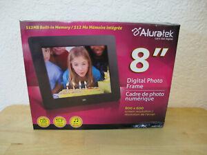 "Aluratek 8"" Digital Photo Frame Audio Video Player- New in Box - 512MB"