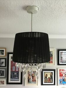 Black Chandelier Style Lampshade with Hanging Plastic Diamond Design