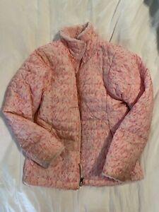 girls north face reversible jacket Pink- Medium