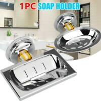 Soap Dish Basket Wall Mounted Suction Holder Bath Shower Storage Tray Plate US