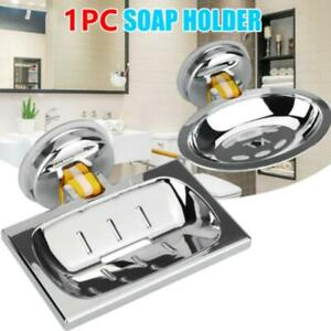 Soap Dish Basket Wall Mounted Suction Holder Bath Shower Storage Tray Plate - US