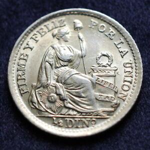 1916 Peru Half Dinero .900 Gem Bu