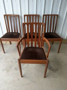 NATHAN VINTAGE RETRO DINING CHAIRS  SEATS & CARVER X 4 ORIGINAL UPHOLSTERY