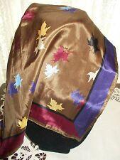 Vintage Kenze XIIX Karat All Silk Leaf Print Fall Colors, Square, Made in Japan