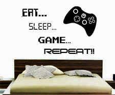 EAT SLEEP GAME REPEAT GAMER BEDROOM VINYL WALL ART XBOX GAMING DECOR RETRO