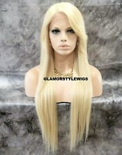 Human Hair Blend Lace Front Full Wig Long Layered W Bangs Bleach Blonde #613 NWT