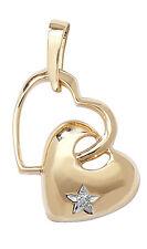 Colgante de Corazón Diamante Oro Amarillo Dos Corazones Collar