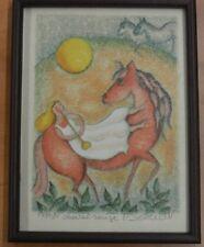 """DEBERDT FRANCOISE Litographie  EA 11/80 """" Cheval rouge """" cadre/verre"""