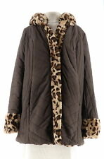Dennis Basso Water Resist Puffer Reversible Coat Chocolate Lynx M NEW A270719