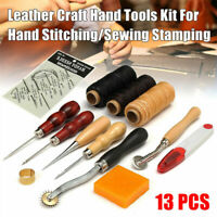 13PCS Leather Craft Tools Kit Set For Hand Stitching Sewing Punch Carving Stamp