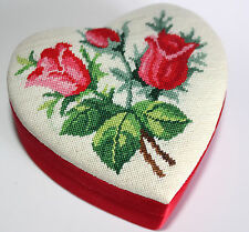 Rose Flower Petit Point Container Heart Love Trinket Box Red Satin Beauty