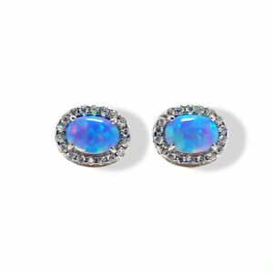 White gold finish Turquoise and created diamond Oval stud earrings