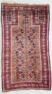 Antique rug/carpet Afghan Turkoman Central Asian Tribal Oriental 1900