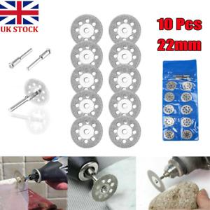 10X Mini Diamond Cutting Discs Wheel Blades + Drill Bit For Dremel Rotary TookY