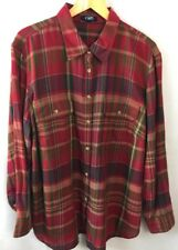 Chaps Shirt Size 2X Plus Womens Red Plaid 100% Cotton New D18
