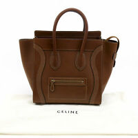 Celine Micro Luggage Tote Handbag Brown Leather