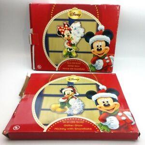 "Disney Mickey Minnie W Snowflake 14"" Glitter Glow Indoor Outdoor Holiday Light"