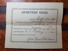 RARE VINTAGE 1921 LAMAR, MO MISSOURI CEMETERY DEED - C.J. BRILEY - BARTON COUNTY
