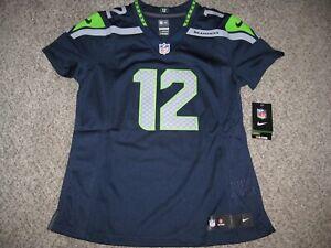 Seattle Seahawks #12 FAN Navy Blue Womens Medium Nike Limited Jersey