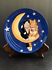 """Catzilla Candace Reiter Hand Painted Decorative 8 1/4"""" Plate Wall Hanging"""