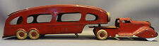 1940's Antique MARX MOTOR TRANSIT Car Hauler PRESSED STEEL Truck & Trailer TOY