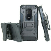 Hybrid Armor Shockproof Belt Clip Cover Holster Case For Motorola Moto G6 Play