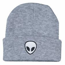 MIP- Unisex Grey/ White Alien logo Beanie / one size fits most
